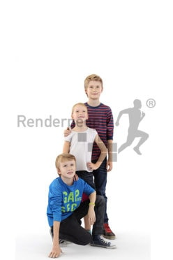 3d people kids, white 3d children standing