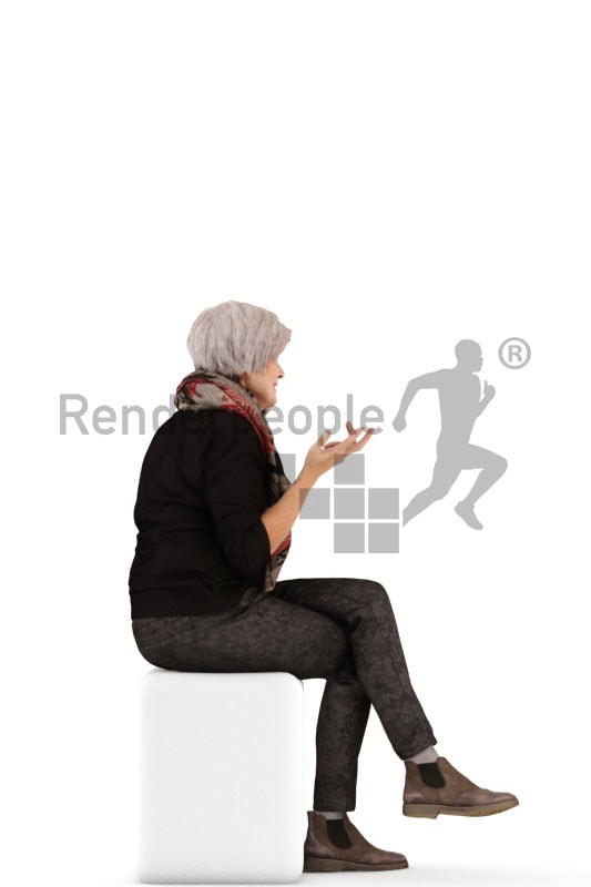3d people casual, best ager woman calling somebody with her phone