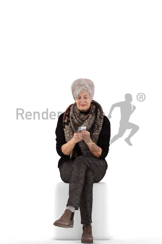 3d people casual, best ager woman sitting and holding her phone