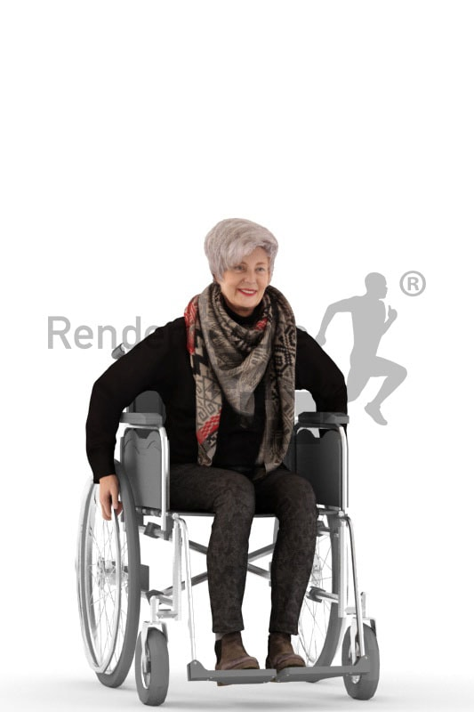 3d people casual, best ager white 3d woman sitting on her wheelchair