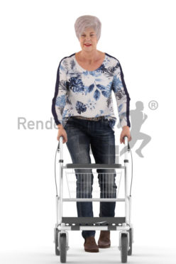 3d people casual, best ager white 3d woman walking with rollator