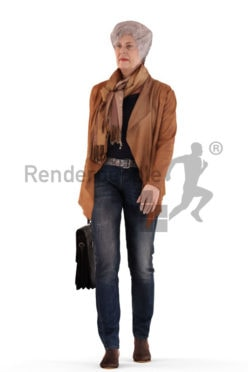 3d people casual, best ager white 3d woman walking
