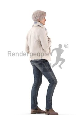 3d people casual, best ager white 3d woman standing