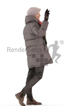 3d people casual, best ager white 3d woman walking and waving