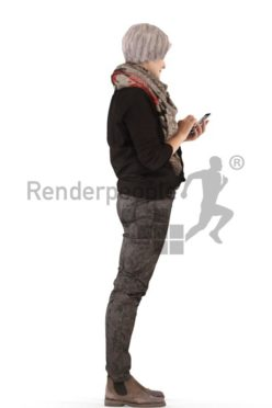 3d people casual, best ager white 3d woman standing holding a phone