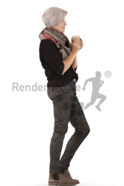 3d people casual, best ager white 3d woman standing holding a cup