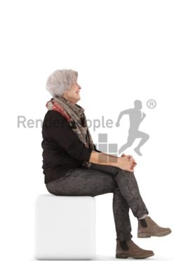 3d people casual, best ager white 3d woman sitting and smiling