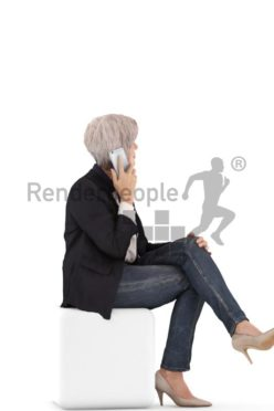 3d people casual, best ager white 3d woman sitting and calling