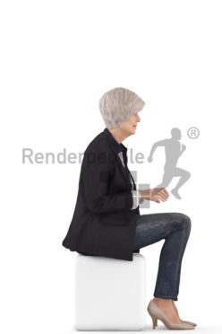 3d people business, best ager white 3d woman sitting and typing