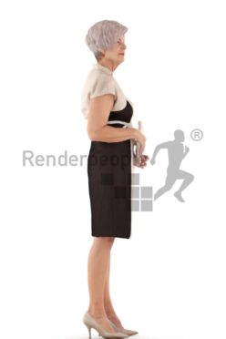 3d people event, best ager white 3d woman standing and holding a clutch