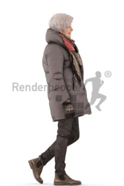 3d people outdoor, best ager white 3d woman standing and wearing a scarf