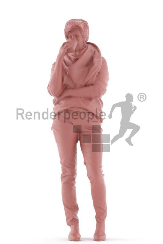 3d people casual, best ager white 3d woman standing, drinking coffee