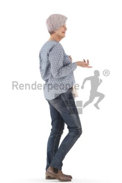 3d people casual, best ager white 3d woman standing debating