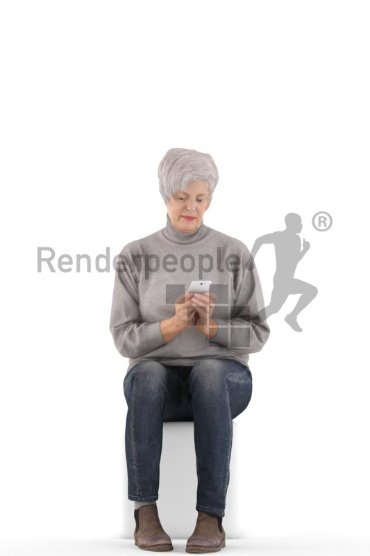 3d people casual, best ager white 3d woman sitting and texting