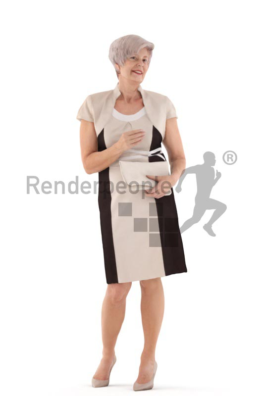 3d people evening, best ager white 3d woman standing talking