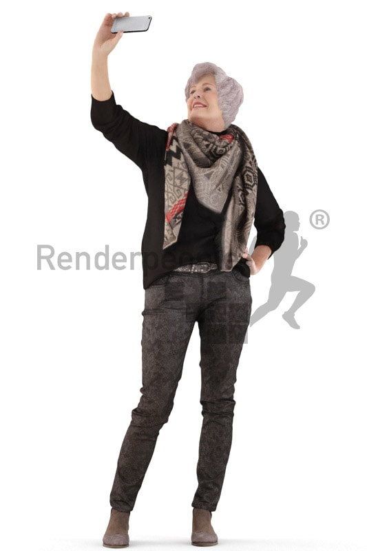 3d people casual, best ager white 3d woman standing, taking a selfie