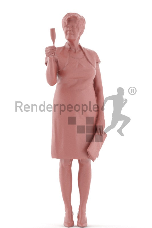 3d people evening, best ager white 3d woman standing and drinking