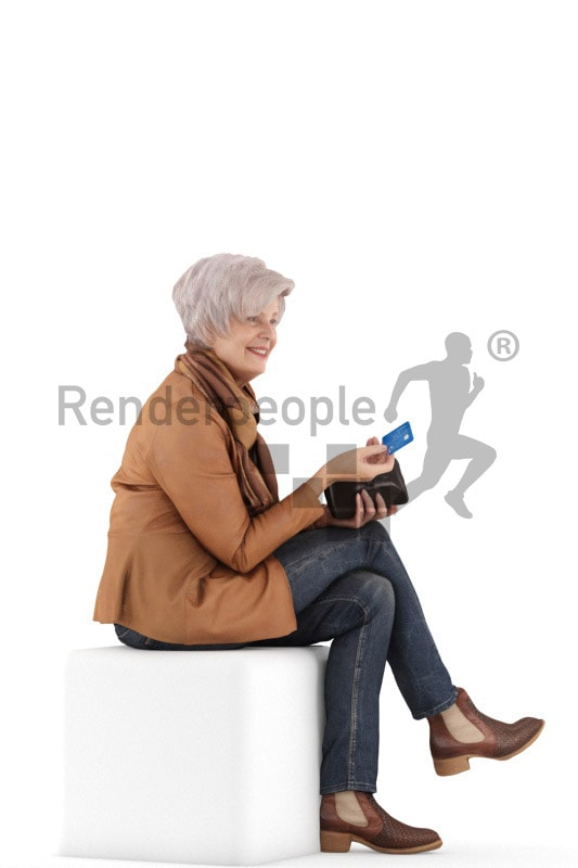 3d people casual, best ager white 3d woman sitting and paying
