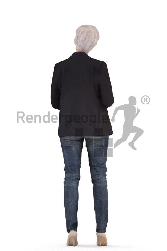 3d people business, best ager white 3d woman standing