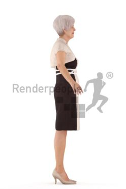 3d people rigged, elderly woman standing in a-pose