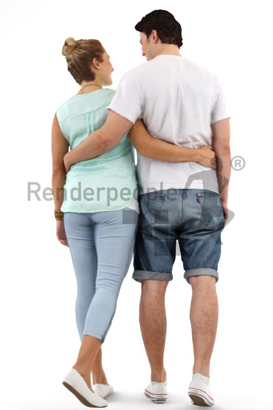 3d people, 3d couple walking arm in arm