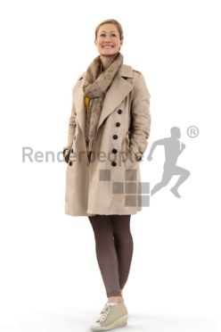 3d people outdoor, white blond 3d woman wearing a jacket