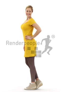 3d people casual, blond white 3d woman in a yellow dress looking over her shoulder