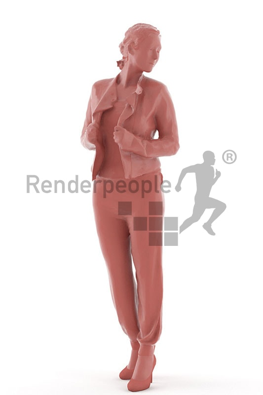 3d people casual, blond white 3d woman looking over her shoulder