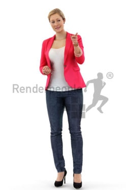 3d people business, blond white 3d woman pointing with her finger