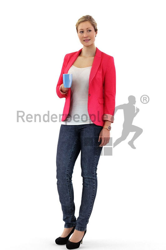 3d people business, blond white 3d woman with a cup