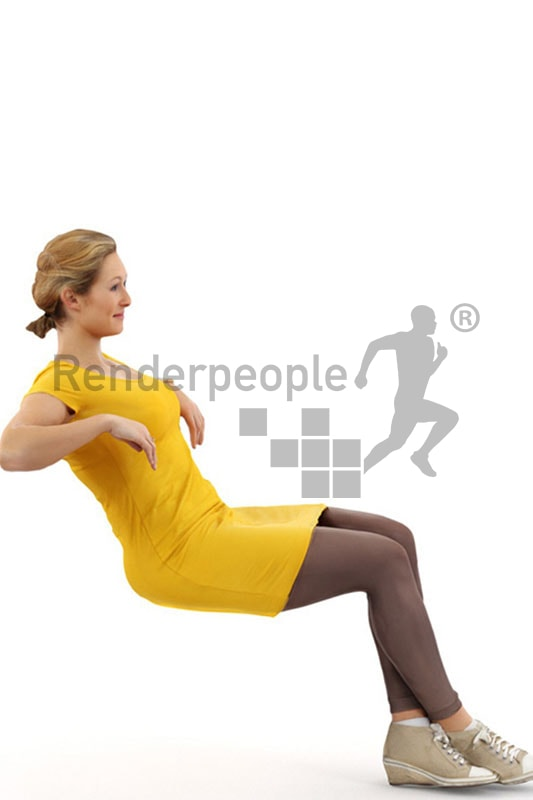 3d people casual, blond white 3d woman in yellow dress leaning back