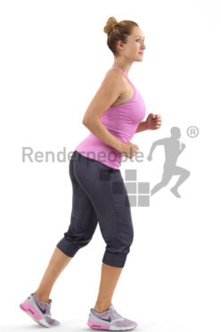 3d people sports, blond white 3d woman jogging