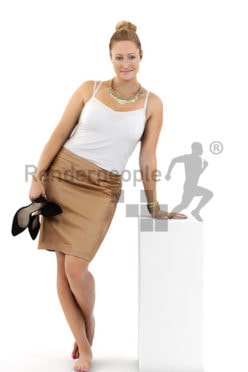 3d people business, blond white 3d woman after a long day at the office
