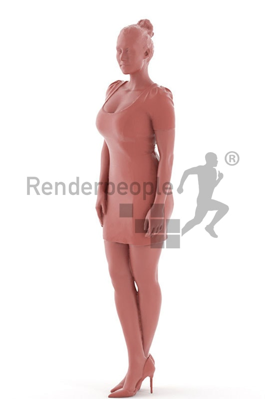 3d people event, blond white 3d woman in a red dress wearing high heels