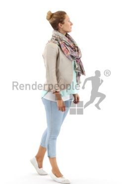 3d people casual, blond white 3d woman walking