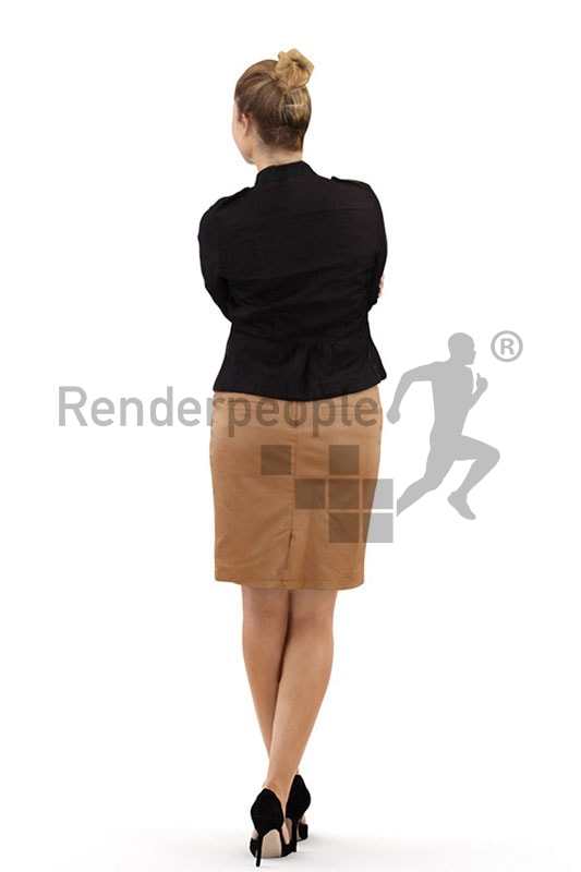 3d people business, blond white 3d woman folding her arms
