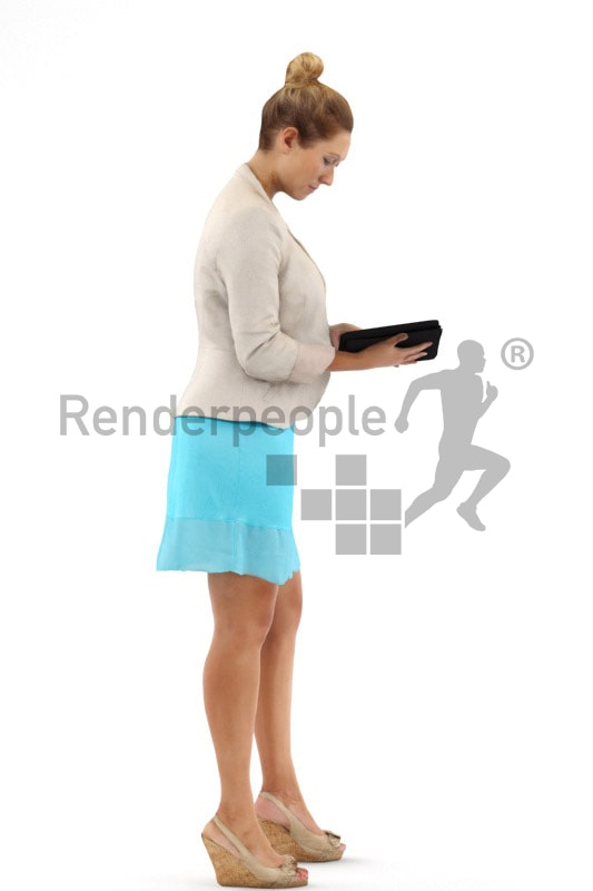 3d people business, blond white 3d woman standing and using a tablet