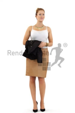 3d people business, blond white 3d woman standing and holding her blazer