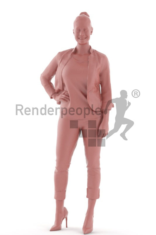 3d people casual, blond white 3d woman standing and smiling