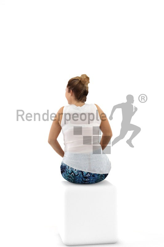 3d people casual, blond white 3d woman sitting