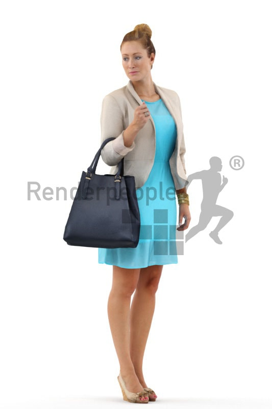 3d people casual, white 3d woman standing and holding her bag