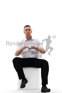 3d people business, white 3d man sitting and typing