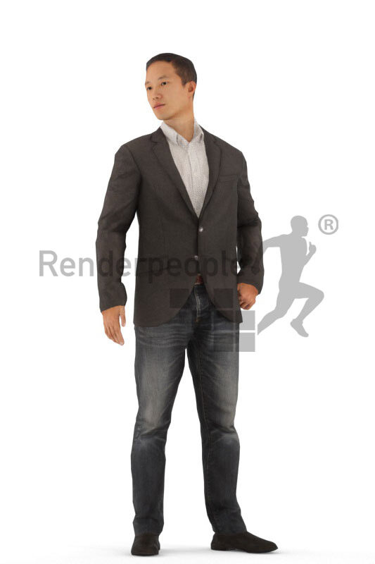 Animated 3D People model for realtime, VR and AR – asian man in smart casual/business look, standing
