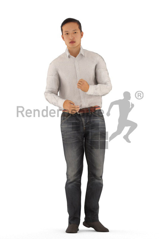 Animated 3D People model for visualization – asian man in smart casual look, standing and talking