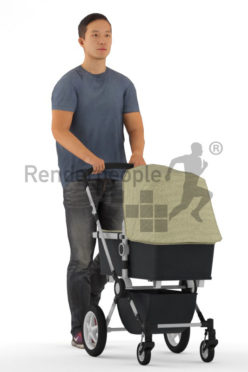 3d people casual, 3d asian man, walking with a buggy animated