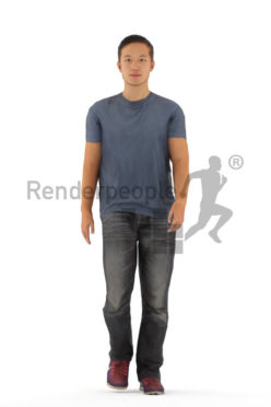 Animated 3D People model for Unreal Engine and Unity – asian male in casual look, walking