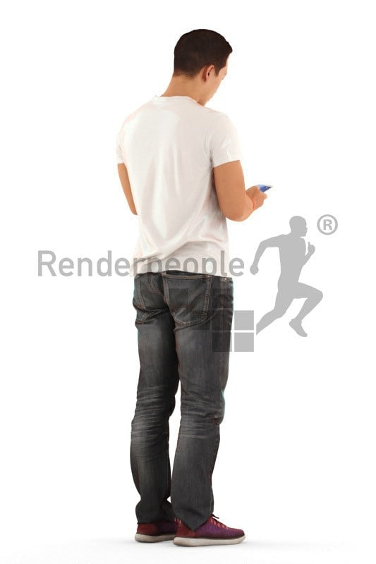3D People model for 3ds Max and Maya – asian man in daily clothes, standing and texting