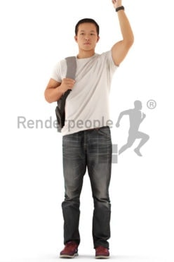 Photorealistic 3D People model by Renderpeople – asian man with backpack, greeting, casual