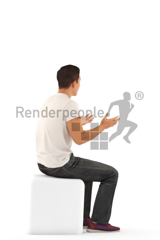 Scanned human 3D model by Renderpeople – asian man in daily t-shirt, sitting and communicating