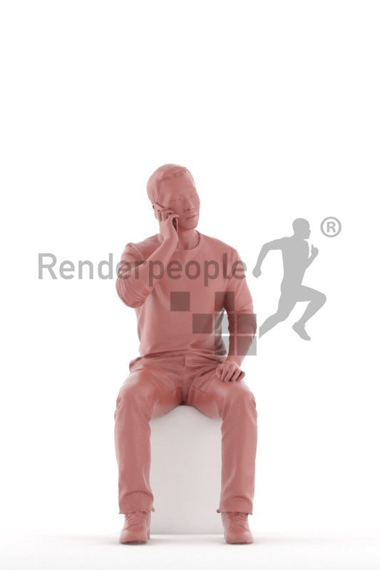 3D People model for 3ds Max and Sketch Up – asian man in casual clothes, sitting and calling